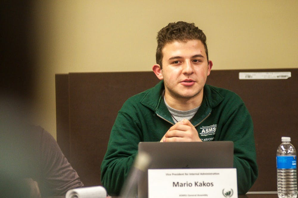 <p>Vice President for Internal Administration Mario Kakos addresses the policy committee during an ASMSU meeting Jan. 24, 2019, at the Student Services Building.</p>