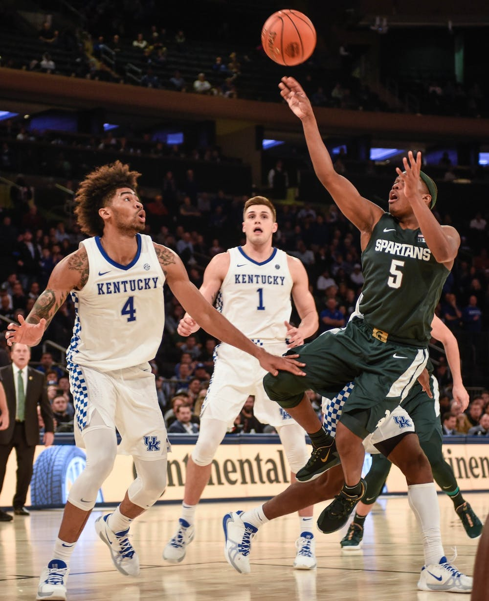 Senior guard Cassius Winston (5) shoots the ball during the game against Kentucky at the State Farm Champions Classic at Madison Square Garden on Nov. 5, 2019. The Spartans fell to the Wildcats, 69-62.