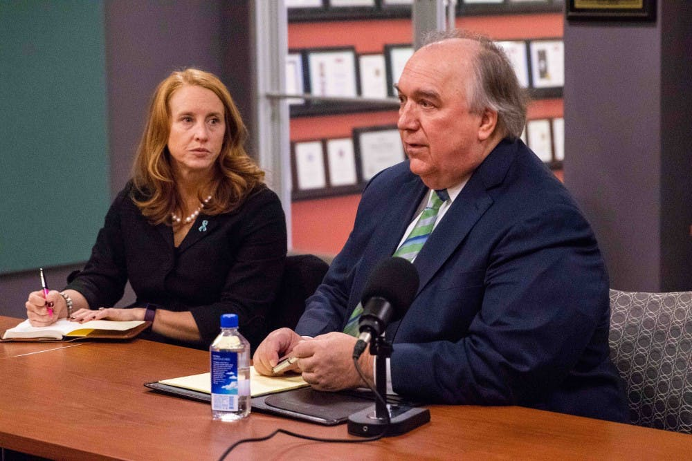<p>Interim president John Engler sits down with The State News on Nov. 28, 2018.&nbsp;</p>