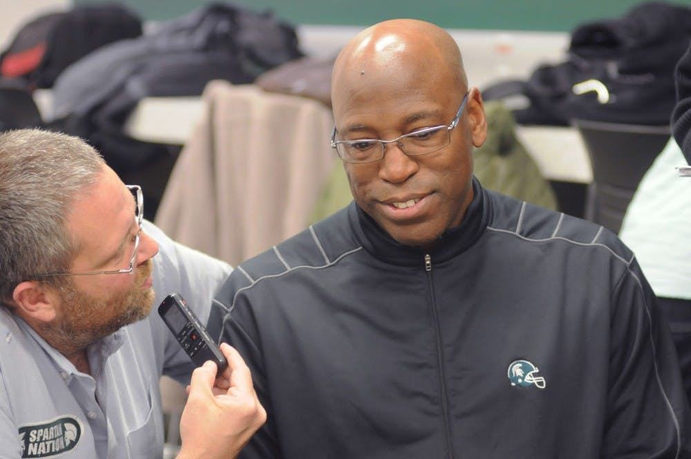 Assistant head coach Harlem Burnett speaks to reporters  during a press conference on Feb. 3, 2016 at Spartan Stadium. Burnett had a lot of good things to say about the Spartans and the new recruits for next years football season.