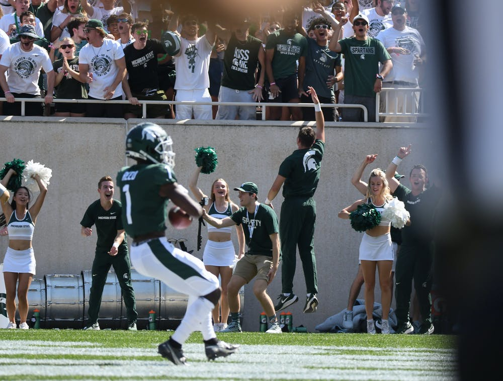<p>The energy in Spartan Stadium is electric as Spartan&#x27;s wide receiver Jayden Reed score&#x27;s State&#x27;s first touchdown in the first play of the game. September 11, 2021.</p>