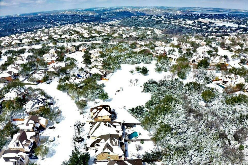 <p>A drone photo shows the snow in Texas. Photo courtesy of Alexander and Kayla Banks</p>