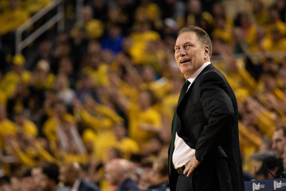 Head coach Tom Izzo looks over his shoulder during the game against Michigan Feb. 8, 2020 at Crisler Center. The Spartans fell to the Wolverines, 77-68.
