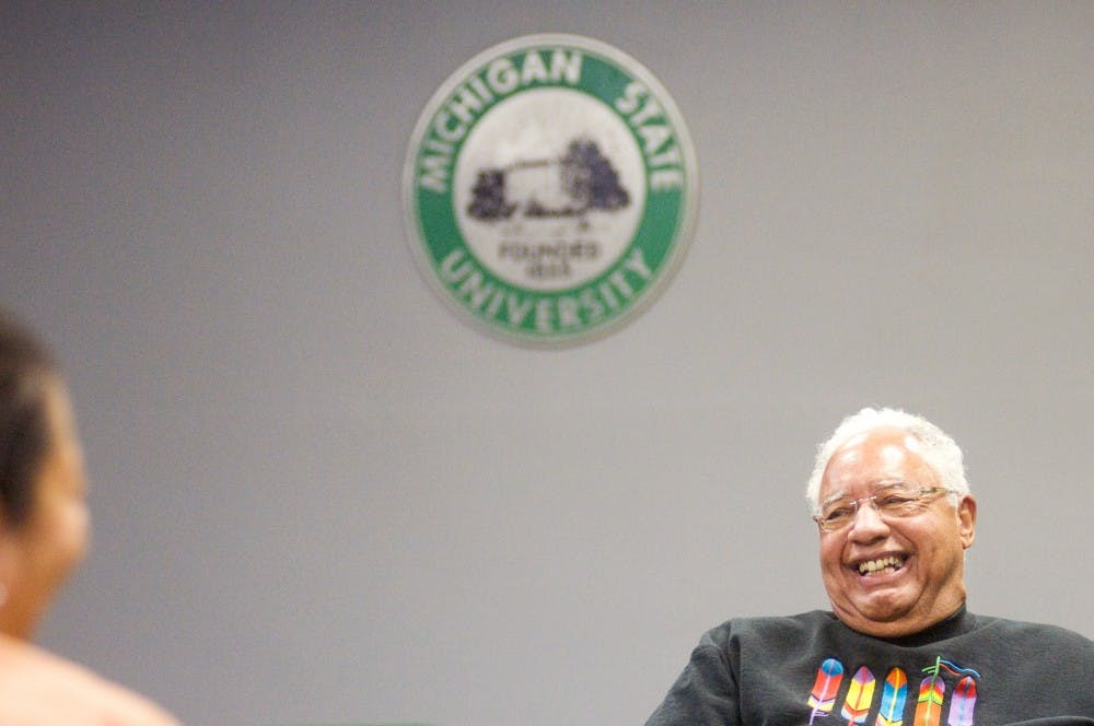 Korean War veteran Joe Webster of East Lansing speaks Wednesday night at Holmes Hall during the Veteran's Feast. The talk was part of the Native Heritage Month events hosted by North American Indigenous Student Organization, or NAISO. Justin Wan/The State News