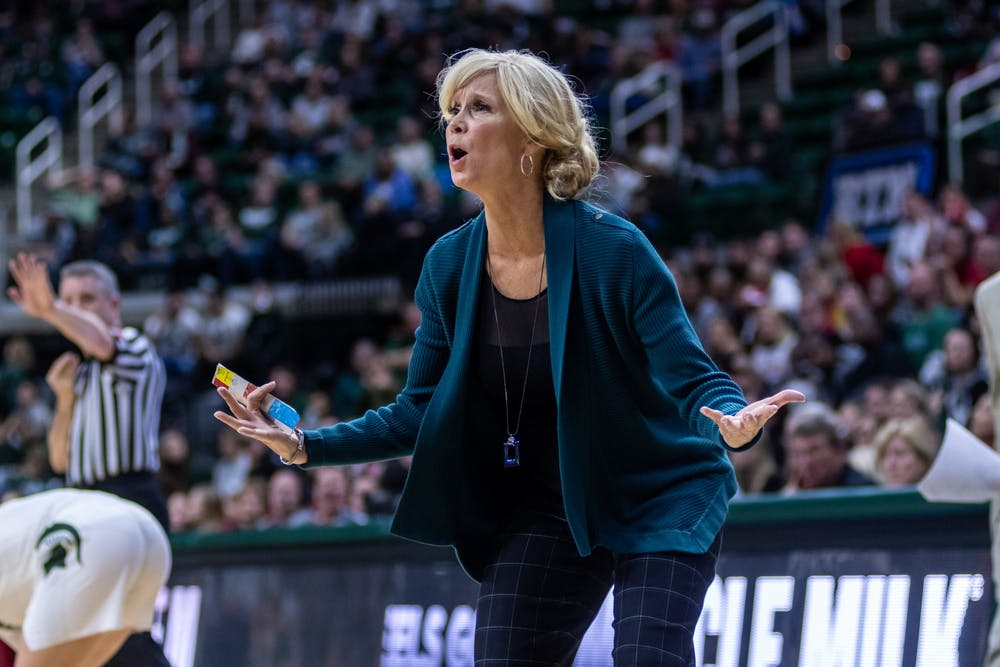 Coach Suzy Merchant reacts to a non-call against Nebraska, she would be given a technical foul for her reaction to the play. The Spartans defeated the Cornhuskers, 78-70, at the Breslin Student Events Center on December 31, 2019.