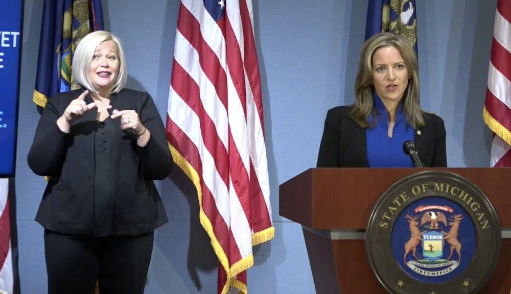 <p>Secretary of State Jocelyn Benson speaks at a press conference on Sept. 16, 2020.</p>