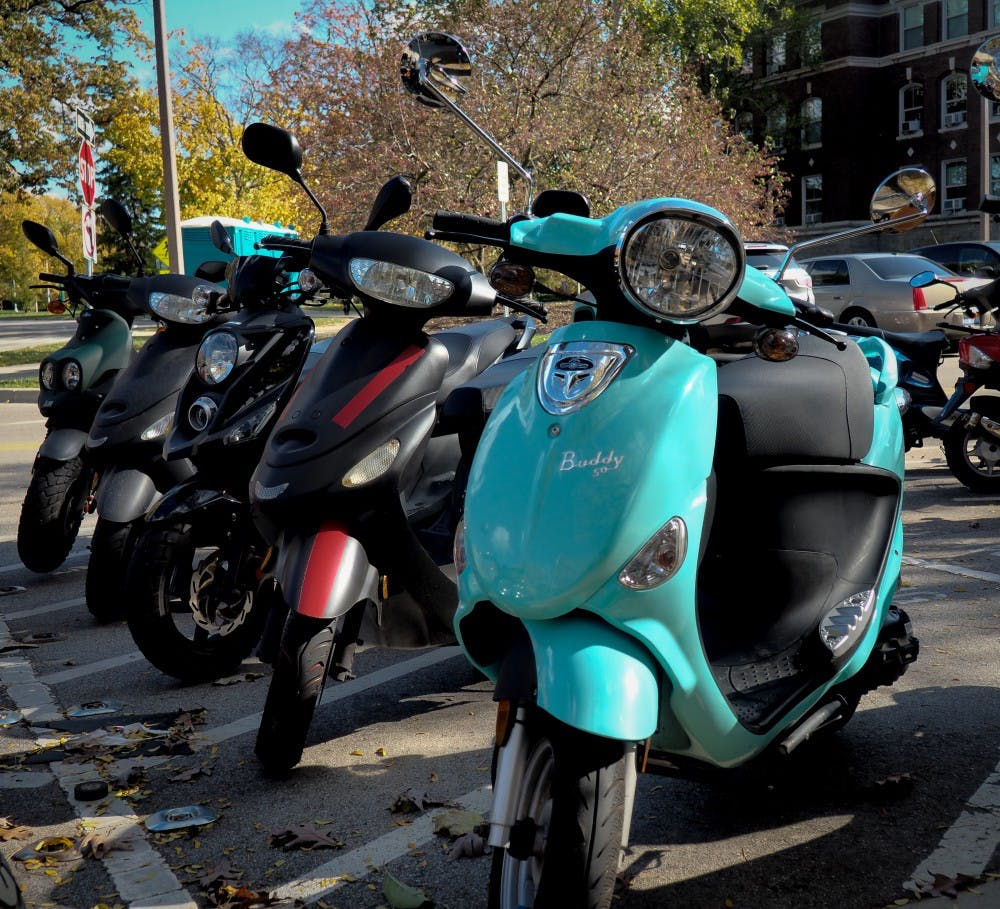 Mopeds parked outside the MSU Library on October 23, 2019.