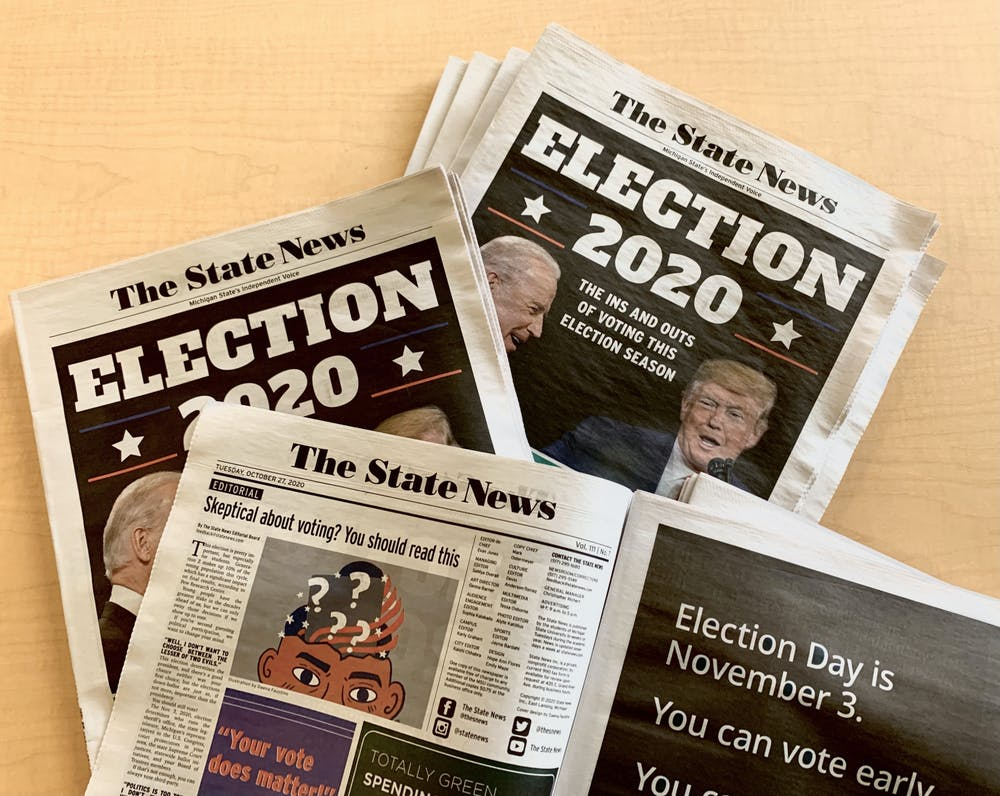 <p>A pile of The State News&#x27; Oct. 27, 2020, print issue. Photo by Daena Faustino.</p>
