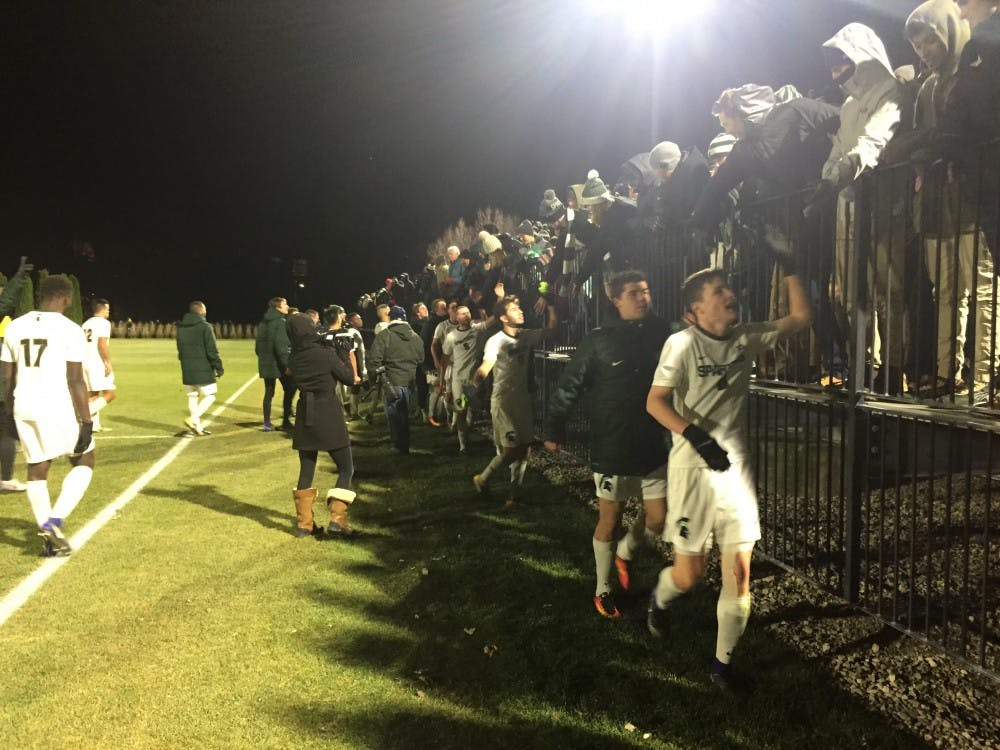 <p>The men's soccer team thanks their fans for the support following a 2-1 victory over Western Michigan to advance to the Elite Eight of the NCAA Tournament.&nbsp;</p>