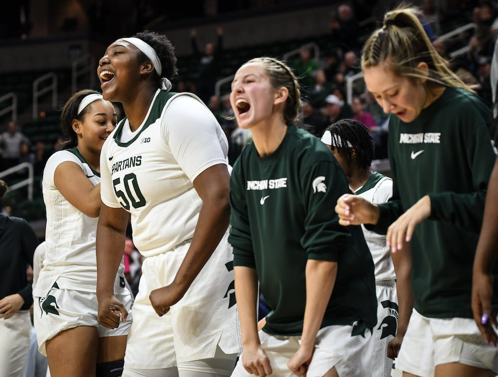 <p>The Spartan bench cheers after a made three point shot during the women&#x27;s basketball game against Rutgers on Feb. 13, 2020 at the Breslin Center. The Spartans ended a five game losing streak and defeated the Scarlet Knights 57-53. </p>