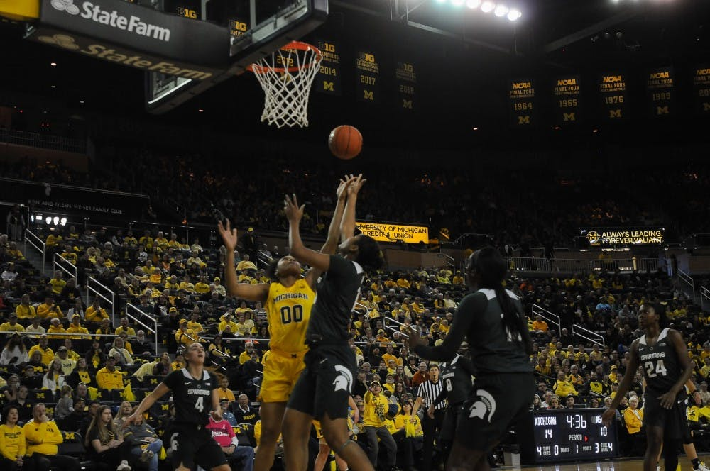 <p>Sophomore forward Sidney Cooks (10) goes for a shot on Jan. 27, 2019 at the Crisler Arena. The Spartans would defeat the Wolverines 77-73</p>