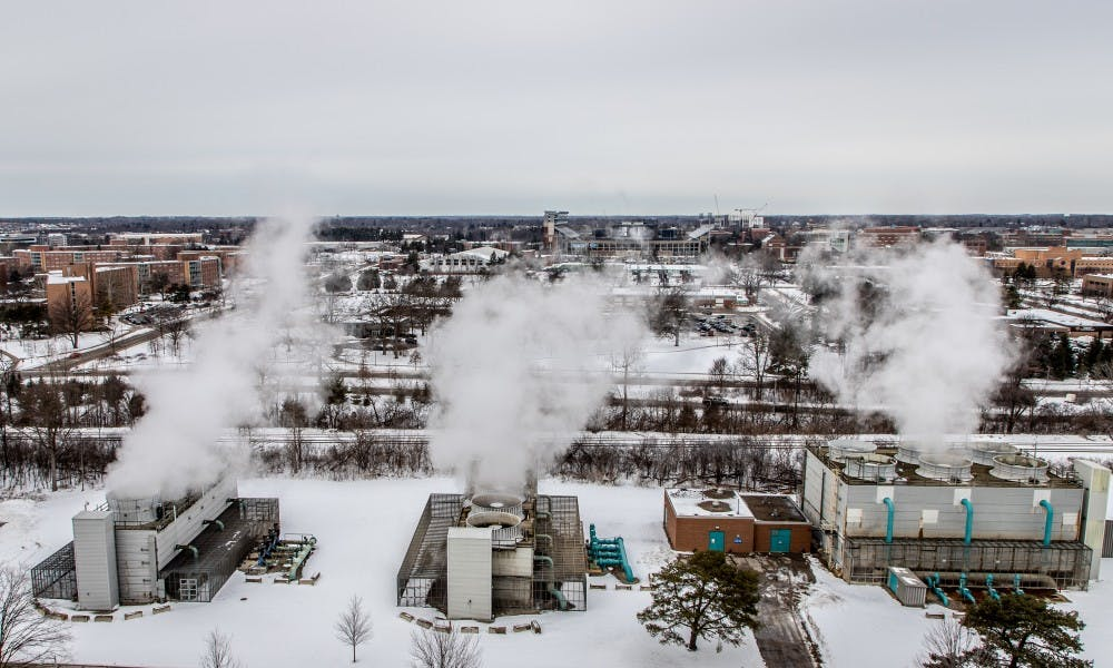 Pictured is the view from atop the T.B. Simon Power Plant on Feb. 14, 2019 at East Lansing. The T.B. Simon Power Plant is the main energy provider for Michigan State Universities main campus.