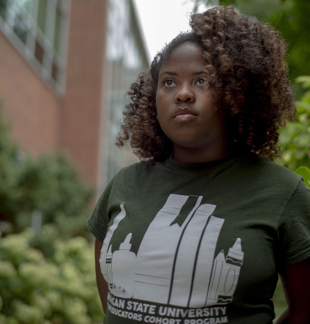 Mathematics senior Miracle Chatman stands for a portrait on Sept. 12, 2019 outside of the Student Services building.