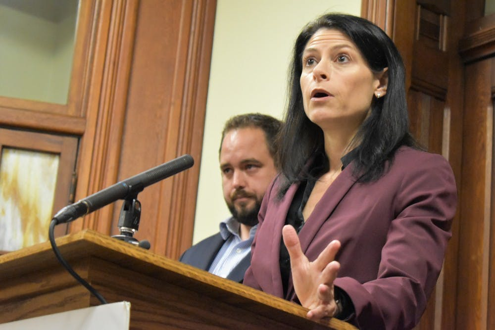 <p>Democratic candidate for attorney general, Dana Nessel, speaks at a press conference in Lansing on Oct. 1, 2018.</p>