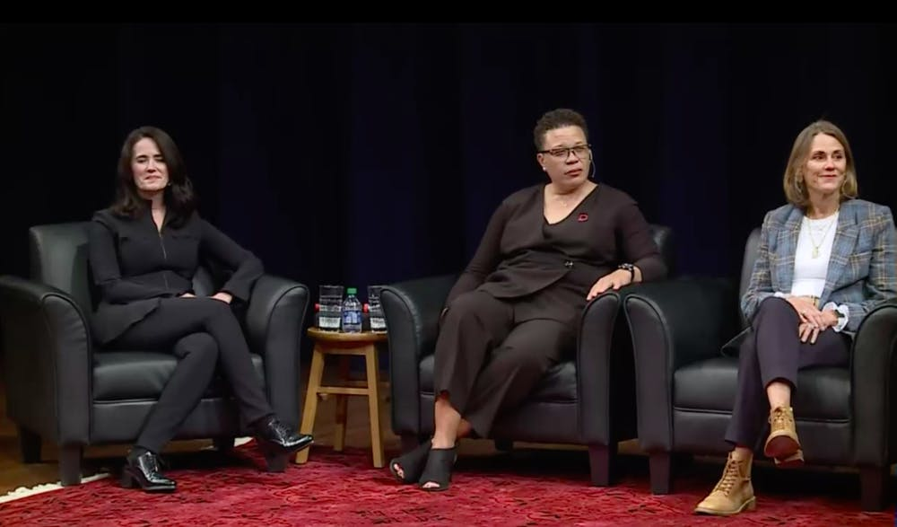 <p>From left to right, Angela Cinefro, Trina Scott and Brenda Becker speak at the &quot;The Future of Work and Leadership&quot; panel. Photo originally from WKAR livestream on Sept. 30, 2021.</p>