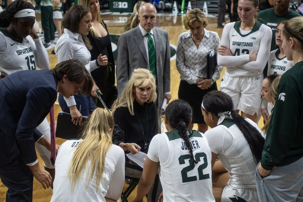 <p>Head Coach Suzy Merchant speaks to the team during the game against Eastern Michigan Nov. 5, 2019 at the Breslin Center.</p>