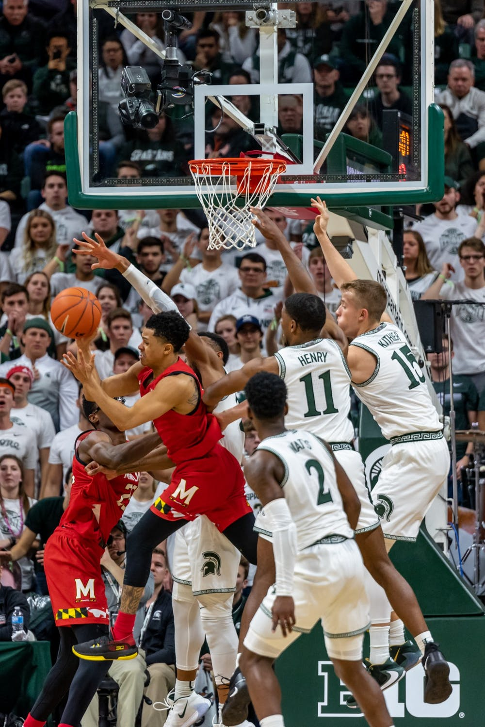 <p>Michigan State and Maryland players battle over a rebound. The Spartans fell to the Terrapins, 60-67, at the Breslin Student Events Center on Feb. 15, 2020. </p>