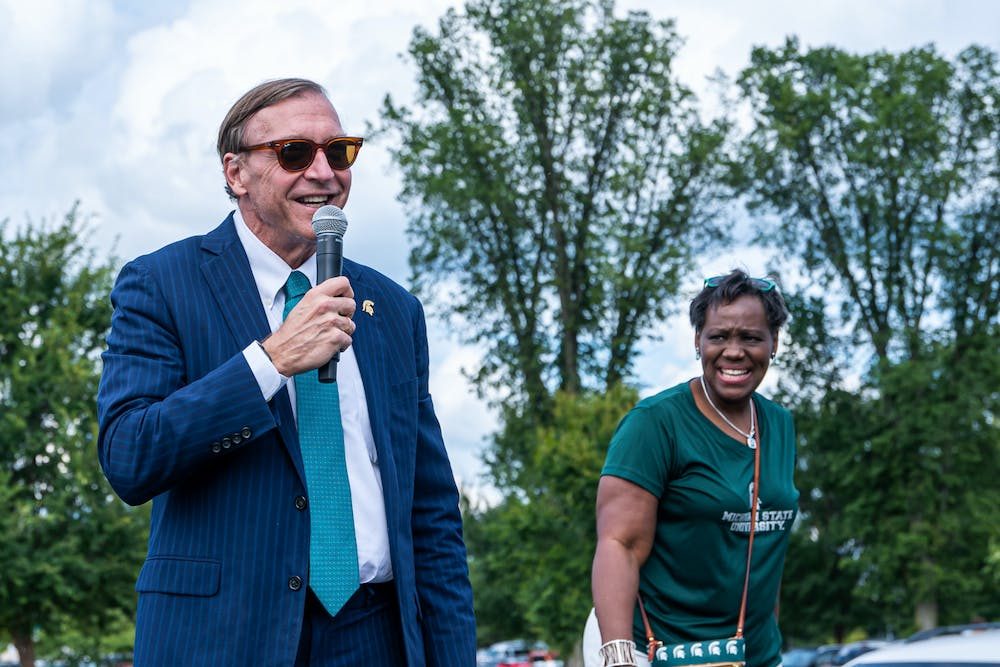 President Stanley speaks at Sparticipation on Aug. 30, 2021.