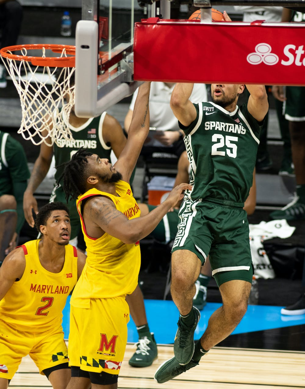 MSU forward Malik Hall, 25, takes a shot in the Big Ten basketball tournament during a game against Maryland on March 11, 2020.