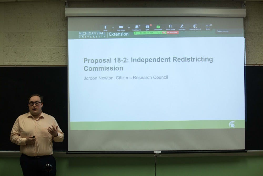 <p>Member of Citizens Research Council of Michigan Jordan Newton talks about proposals on the 2018 ballot on Oct. 23.</p>