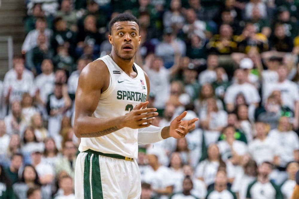 <p>Junior forward Xavier Tillman Sr. reacts to a foul called against him during a game against Iowa. The Spartans defeated the Hawkeyes, 78-70, at the Breslin Student Events Center on Feb. 25, 2020. </p>