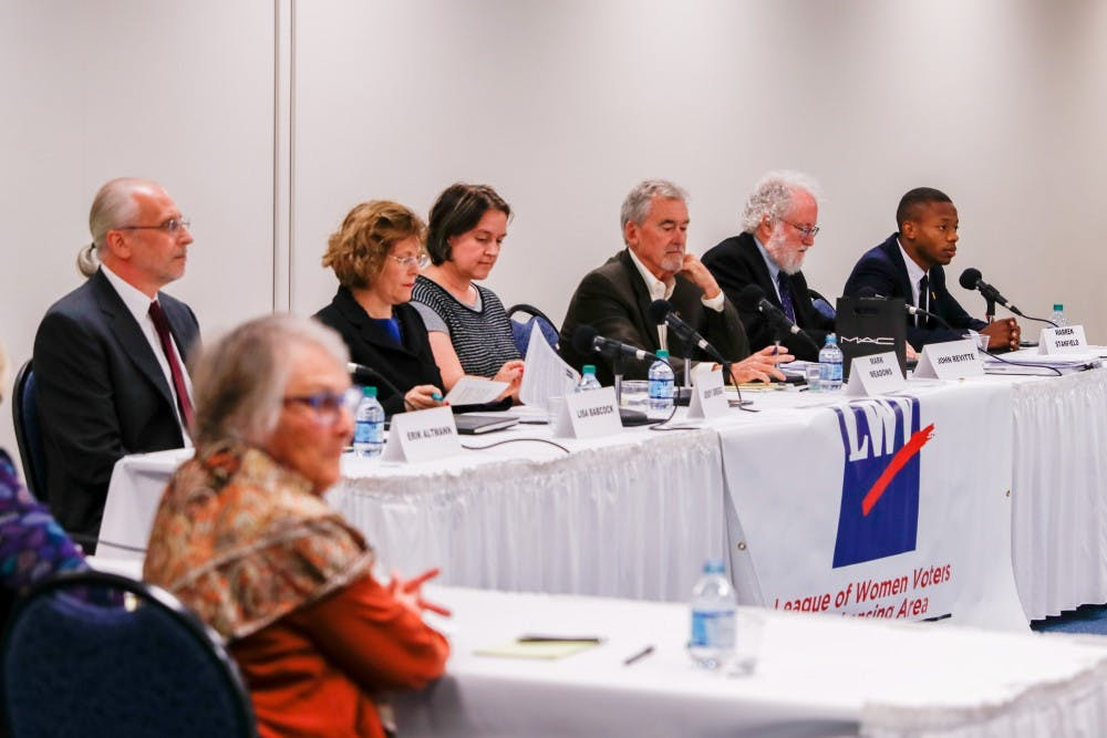 <p>Candidates sit on the panel at the East Lansing City Council Candidate Forum on Oct. 3, 2019.</p>