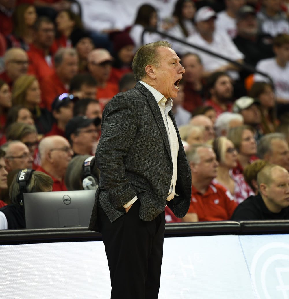 <p>MSU Head Coach Tom Izzo yells at the team during the basketball game against Wisconsin on Feb. 1, 2020 at the Kohl Center in Madison, Wisconsin. The Spartans fell to the Badgers, 63-64.</p>