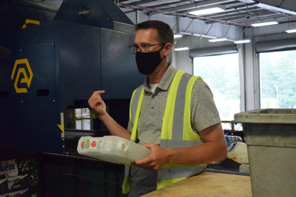 MSU Recycling Coordinator David Smith, explains the new plastic sorter on  Oct.7, 2021.