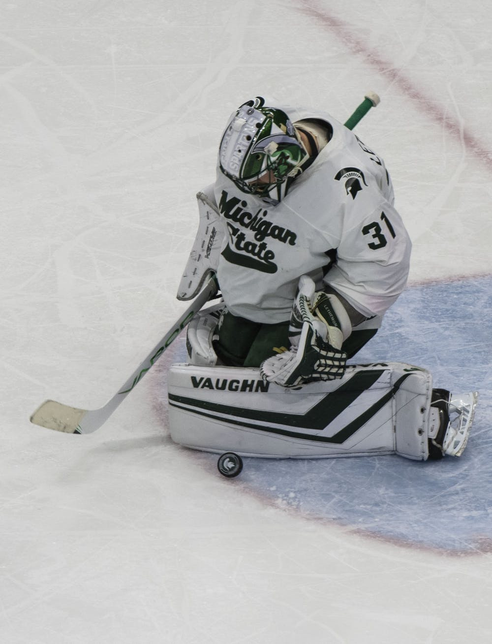 Senior goaltender John Lethemon (31) protects the Spartan goal from a shot from the Nittany Lions. Michigan State fell to Penn State 2-1 on January 25, 2020.