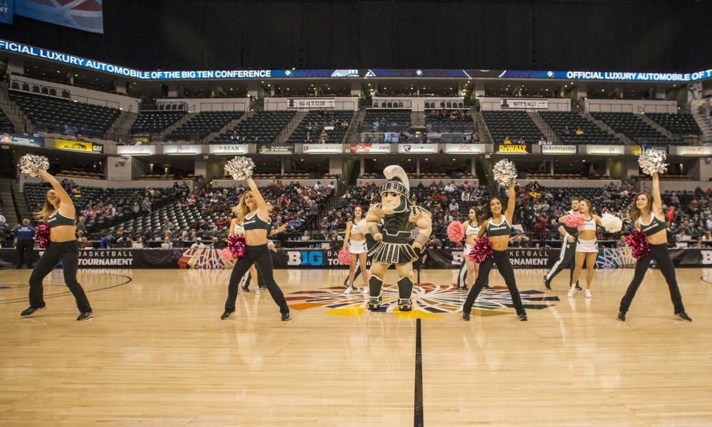 <p>The MSU dance team performs a routine with the MSU cheerleading team during the game against Maryland in the semi-final round of the women&#x27;s Big Ten Tournament on March 4, 2017, at Bankers Life Fieldhouse in Indianapolis. The Terrapins defeated the Spartans, 100-89. </p>