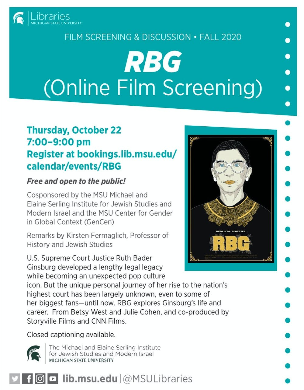 Flyer for RBG film screening on Thursday, Oct. 22 (Photo courtesy of MSU Library).