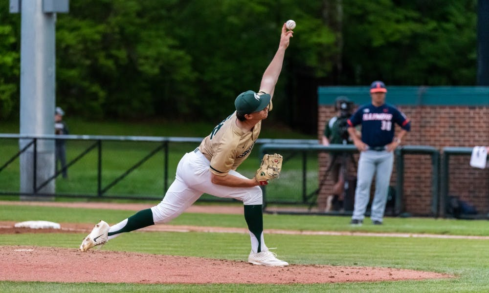 <p>Junior pitcher Mitchell Tyranski (36) pitches the ball against Illinois. The Spartans beat the Fighting Illini, 5-2, at McLane Baseball Stadium on May 17, 2019. </p>