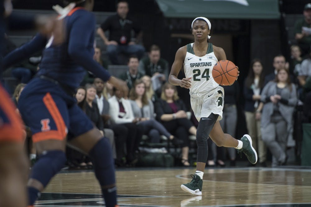 Freshman guard Nia Clouden (24) drives the ball up the court during the women's basketball game against Illinois at Breslin Center on Jan. 24, 2019. Nic Antaya/The State News