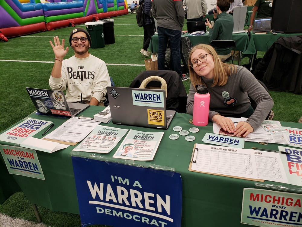 <p>Jack Wheatley and Gabby Harvey with Spartans For Warren. Photo courtesy of Spartans with Warren.</p>