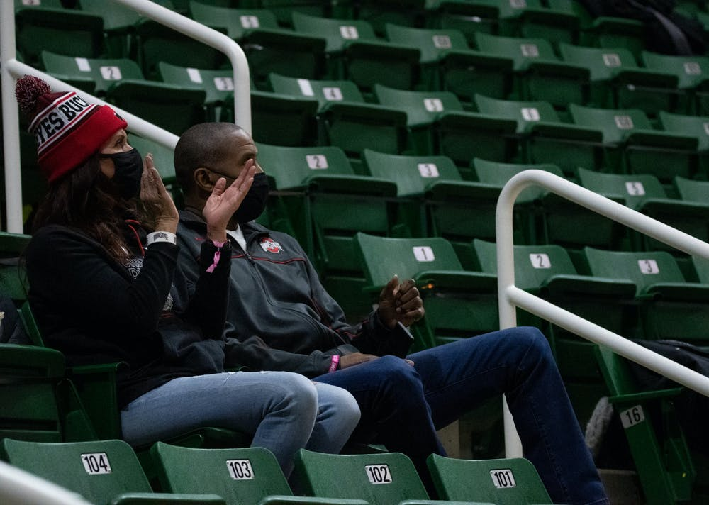 OSU fans applaud during the basketball game on Feb. 25, 2021/