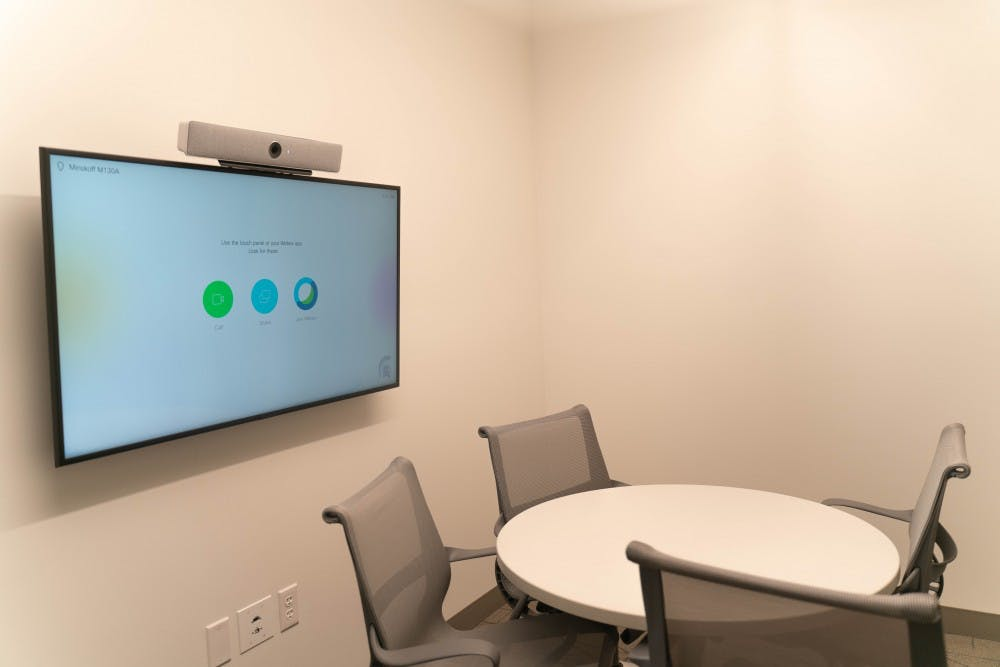 <p>A new Cisco interview system in the Deloitte Foundation interview suite of the Minskoff Pavilion photographed on July 25.</p>