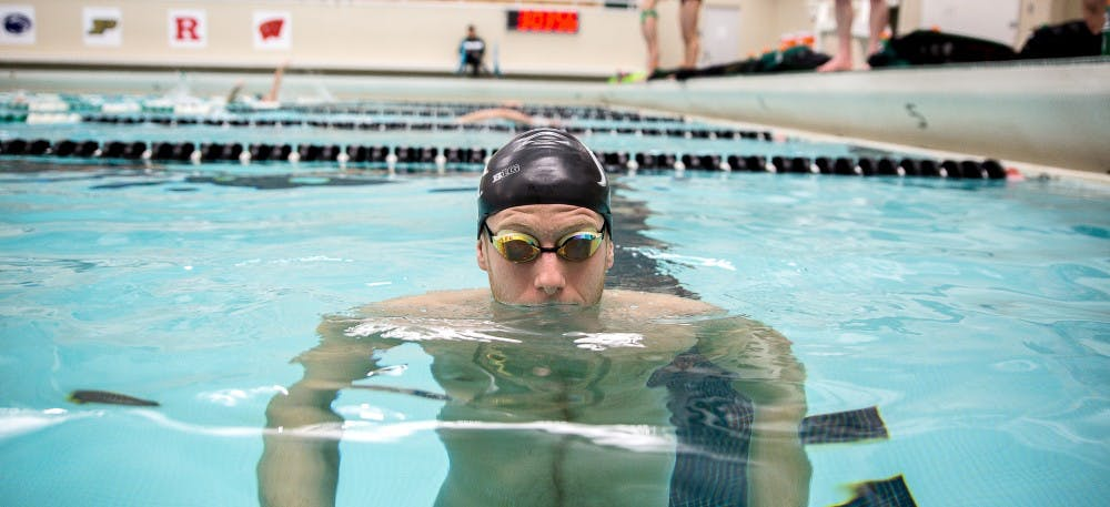 <p>Finance sophomore Guy Moskovich poses for a portrait on Feb. 5, 2019 at the MSU Swimming and Diving facility at IM-Sports West.</p>