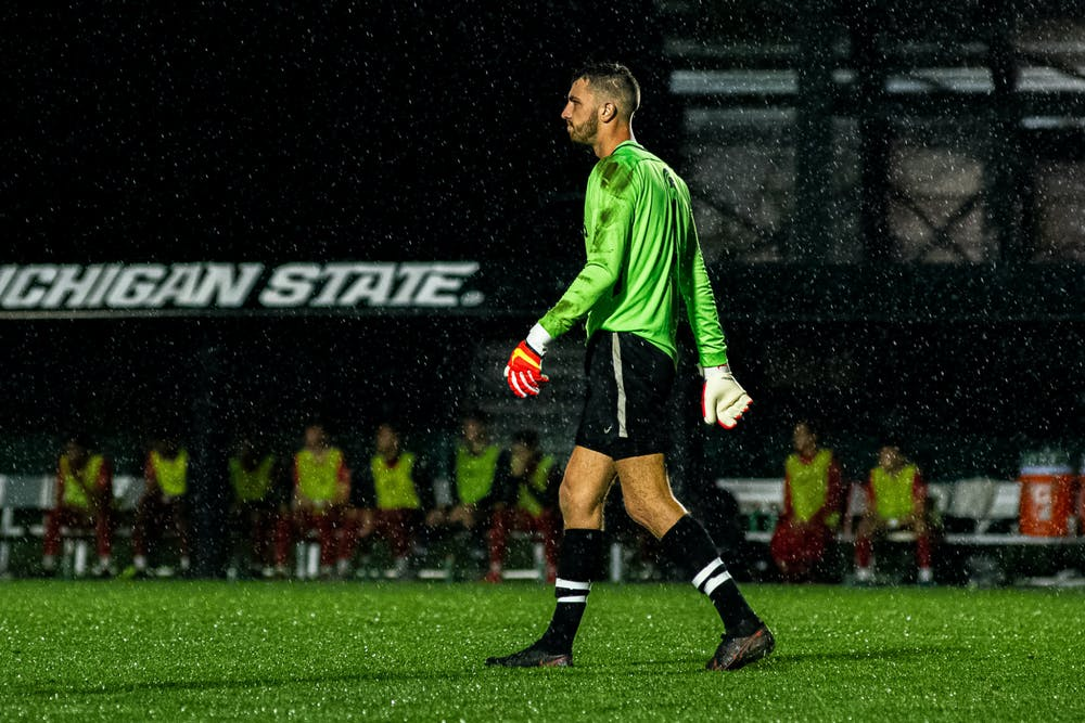 <p>Redshirt senior goalkeeper Hunter Morse walks away from the net. Michigan State men&#x27;s soccer team defeated Duquesne 1-0 on Sept. 21, 2021 in East Lansing.</p>