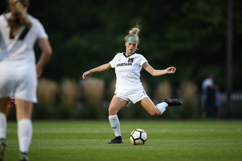 Senior Jaime Cheslik takes a shot in Thursday's 1-0 loss to Indiana. Photo courtesy of Matt Mitchell MSU Athletic Communications