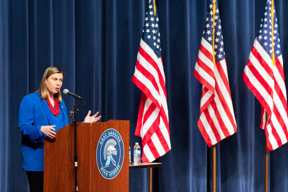 <p>East Lansing High School holds State of the District Town Hall with U.S. Rep. Elissa Slotkin and State Rep. Julie Brixie on Feb. 21, 2020. </p>