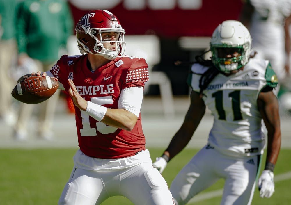 Anthony Russo winds up for a throw during the Owls game against the University of South Florida during the 2020-21 season. (Credit: Zamani Feelings/Temple Athletics)