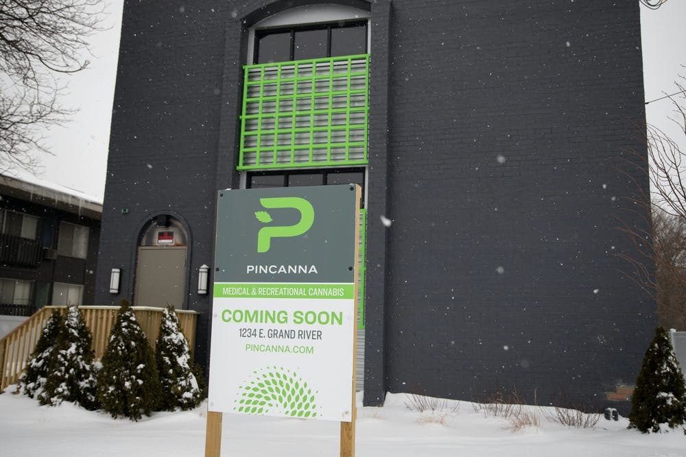 <p>The new dispensary, Pincanna, is located at 1234 E. Grand River Ave. and will open in April. Photo taken on Feb. 18, 2021.</p>