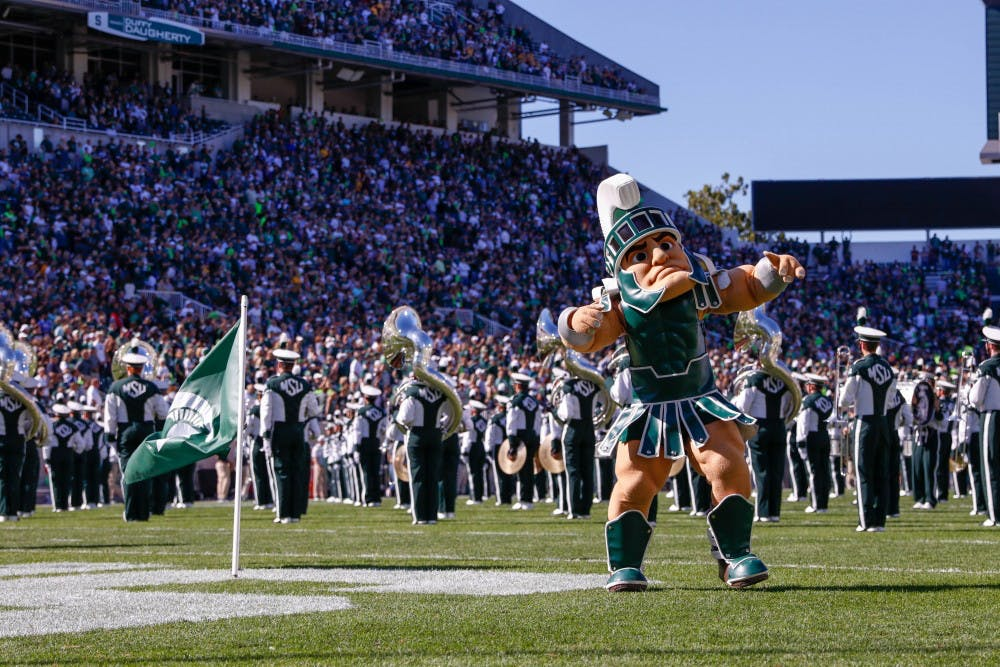 <p>Sparty hypes up the student section during the game against Arizona State on Sept. 14, 2019 at Spartan Stadium. The Spartans fell to the Sun Devils, 10-7.</p>