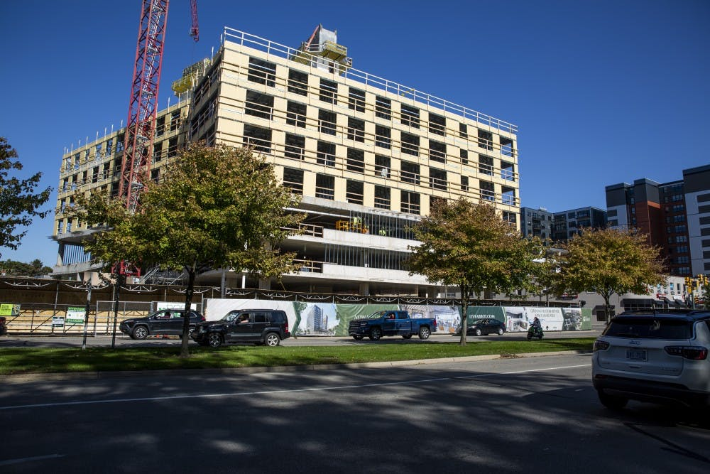 <p>The new Abbot apartment complex is seen under construction on Abbot Road and Grand River Avenue on Oct. 6. They are currently accepting applications for fall 2020-21 residents. </p>