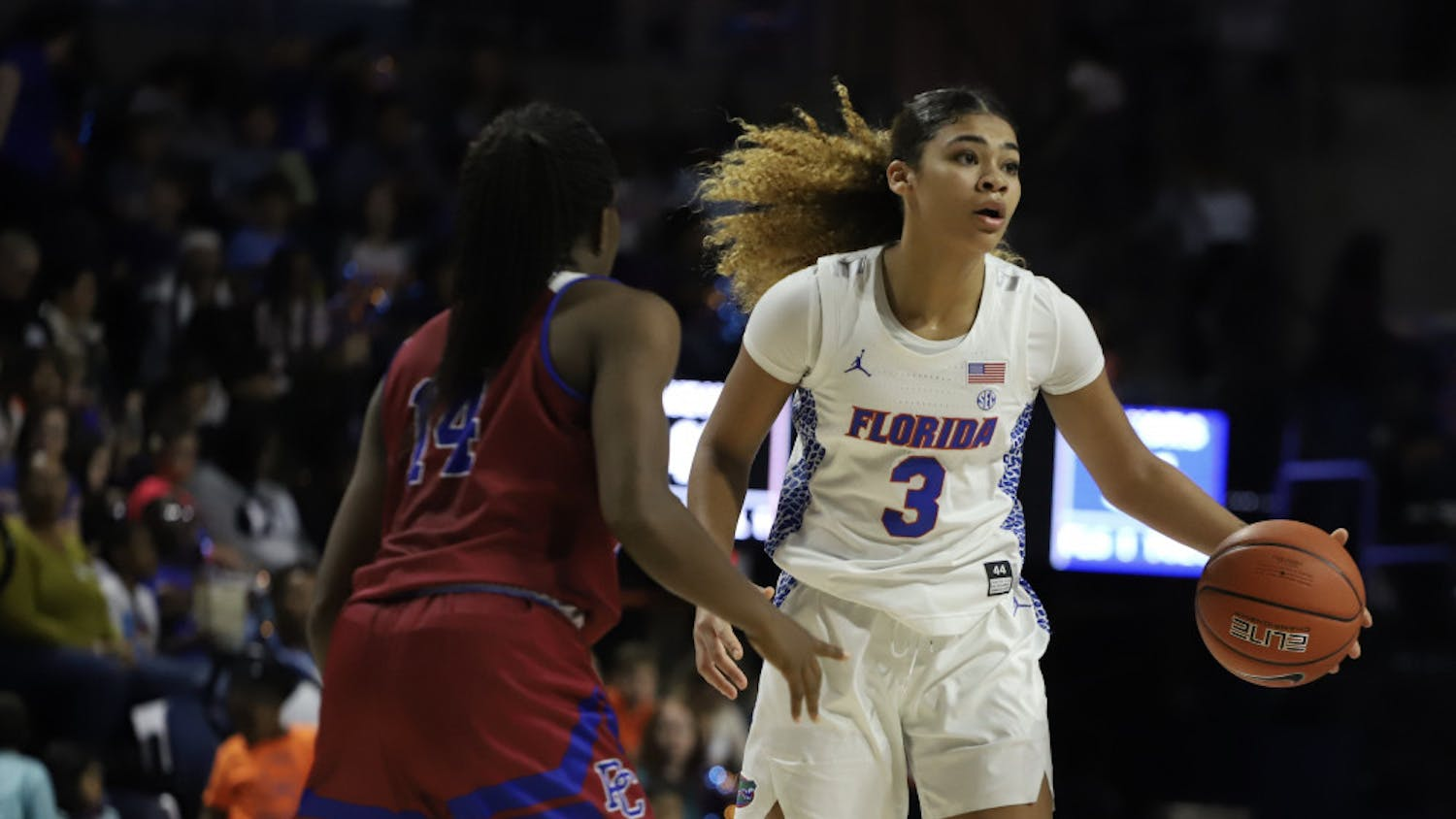 Sophomore guard Lavender Briggs at the Gators' game versus Presbyterian last season. This year Floridawill play an abridged 24-game schedule with 16 conference tilts.