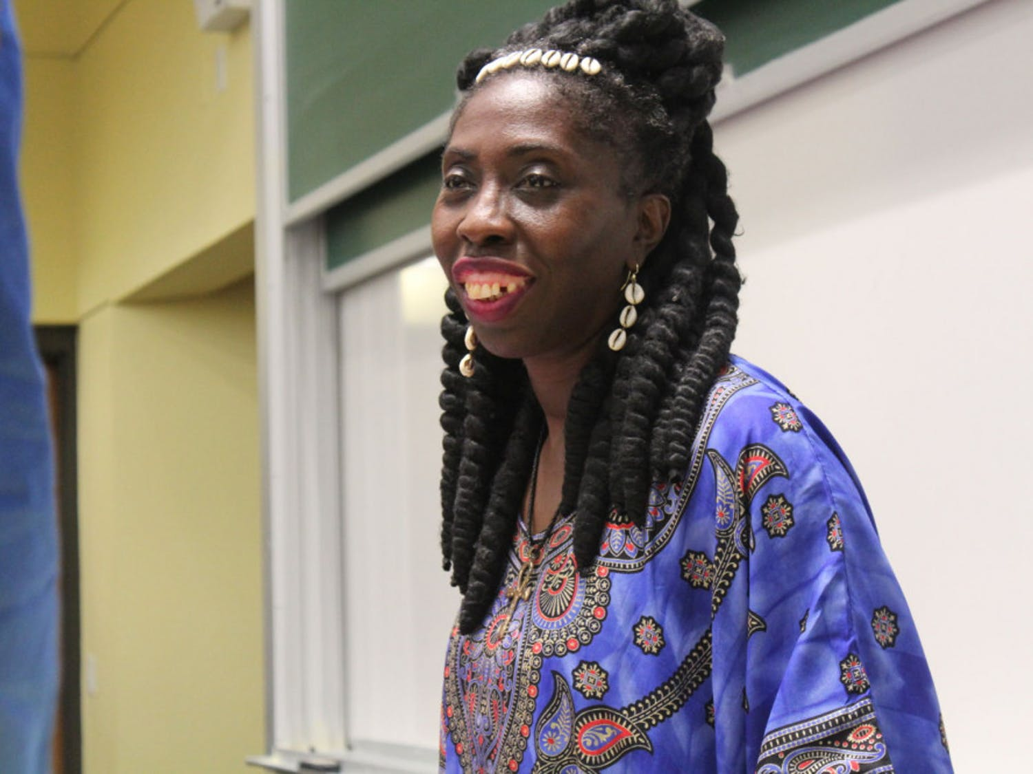 Queen Quet, the chieftess and head of state of the Gullah Geechee nation, talked with attendees after her speech at UF Tuesday night. She is from Saint Helena Island in South Carolina.