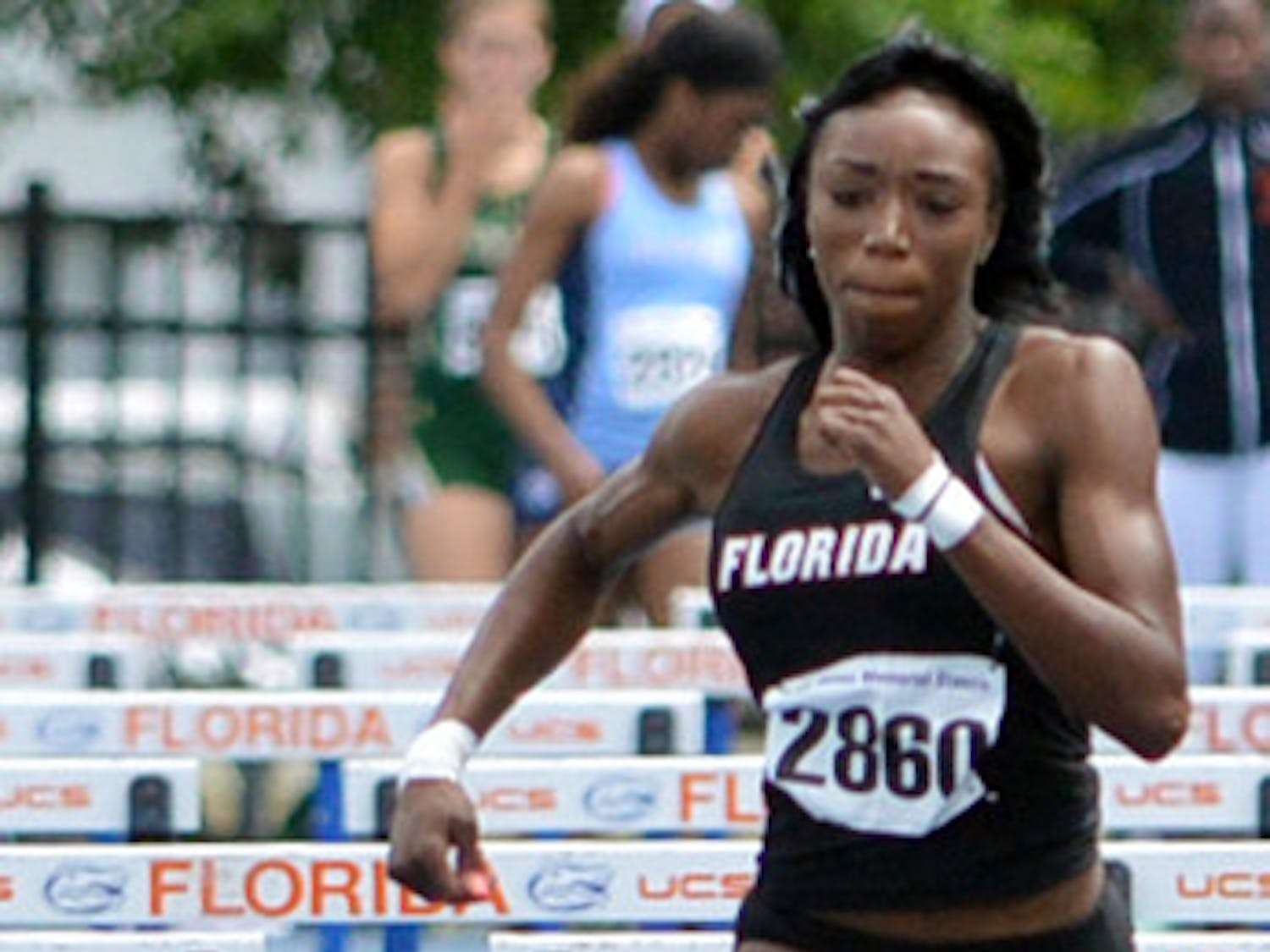Bridgette Owens competes during the Tom Jones Memorial Invite on April 19 at the Percy Beard Track. Owens, who clocked a 12.80-second 100-meter hurdles on Saturday, was one of 25 UF athletes to advance to the NCAA Championships in Eugene, Ore.