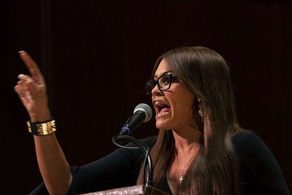 """<p dir=""""ltr""""><span>Kimberly Guilfoyle, a senior adviser to Donald Trump's 2020 campaign and Donald Trump Jr.'s girlfriend, speaks Thursday evening in University Auditorium. Guilfoyle spoke about her upbringing, her relationship with the Trump family and her political philosophy.</span></p><p><span></span></p>"""