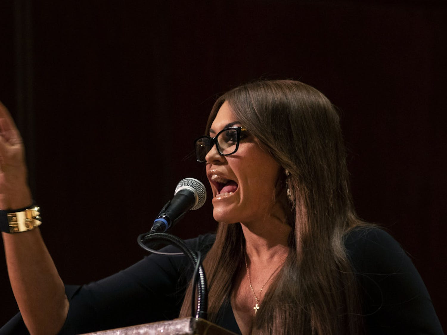 Kimberly Guilfoyle, a senior adviser to Donald Trump's 2020 campaign and Donald Trump Jr.'s girlfriend, speaks Thursday evening in University Auditorium. Guilfoyle spoke about her upbringing, her relationship with the Trump family and her political philosophy.