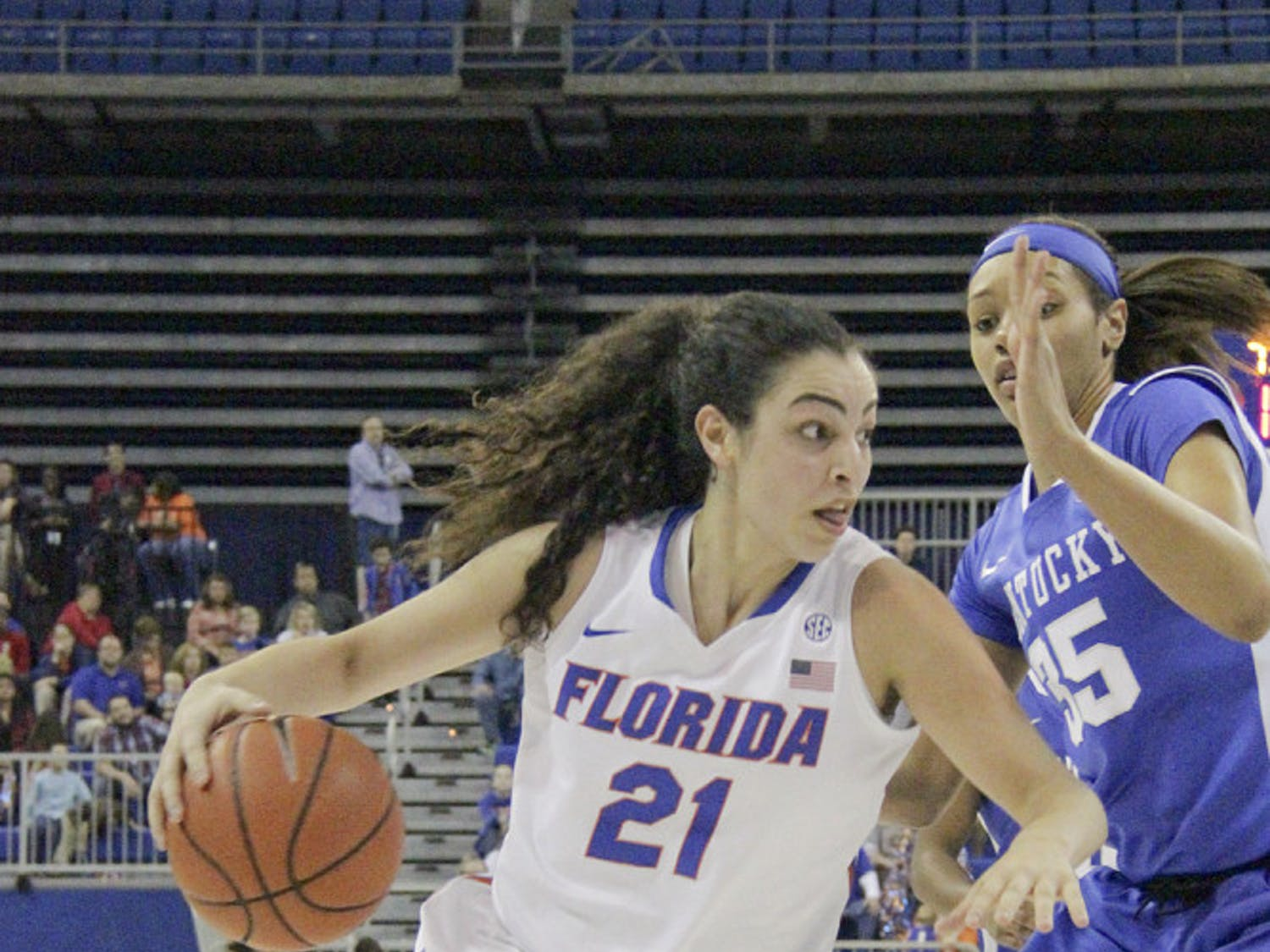 Eleanna Christinaki drives into the paint during Florida's 85-79 win over Kentucky on Jan. 31, 2016, in the O'Connell Center.